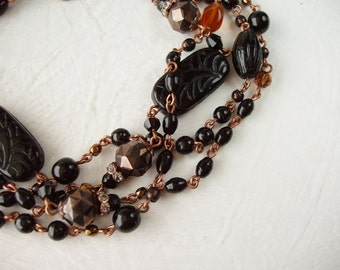 Chocolate Long Necklace. Birthday Gifts. Beaded Sautoir in Black & Brown. Layered Necklaces. Classic Jewelry. Flapper Necklace. Gift Ideas