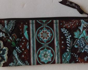 Vera Bradley Turquoise Brown Paisley Floral Bag