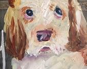 Pet portrait on rustic tin