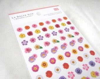 Kawaii Japan Sticker Sheet Assort: La Dolce Vita series - Mini Photo FLOWERS Rose Daisy Pansies Poppies Yellow Pink Orange Red White R