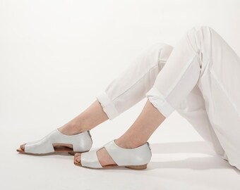 White leather sandals, Flat cut out shoes