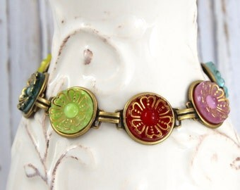 Guided Daises - Vintage glass button bracelet, repurposed jewelry, up-cycled jewelry