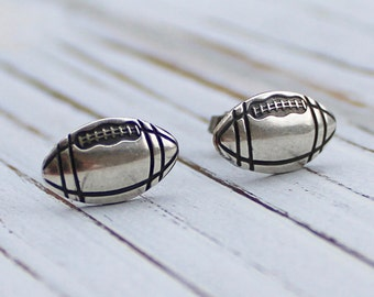 Football - antique silver plated post earrings