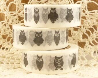 Black and White Owl Washi Tape - NN2142