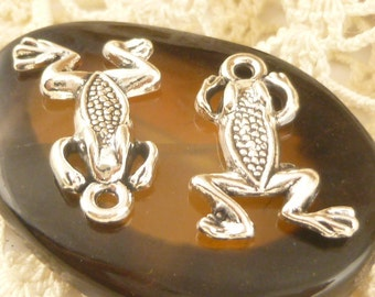 Silver Tone Whimsical  Frog Charms (6) - S40