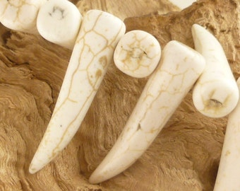 Large, Aged White Howlite Saber Canine Tooth Beads Pendants (4)