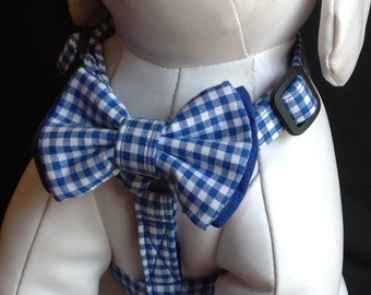 Dog Harness Bow Tie Sizes / Blue Gingham Adjustable Dog Harness - Size  XS, S, M, L
