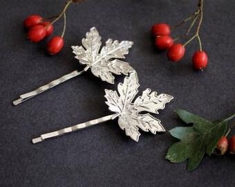 ON SALE Silver Maple leaf bobby pins, woodland hairclip, wedding hair accessories, bridal hairclip, nature,  woodland hair accessory