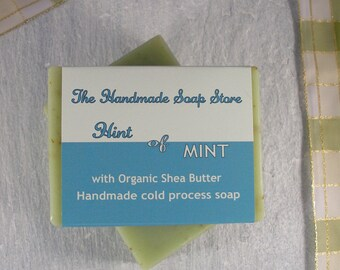 Natural Soap - Hint Of Mint: All Natural Handmade Cold Process Soap with Shea Butter - 110g, Palm Oil Free Soap, SLS Free Soap, Paraben Free