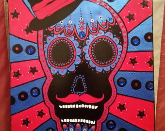 Sugar Skull Acrylic Painting with Jewels on Framed Canvas! CUSTOMIZE