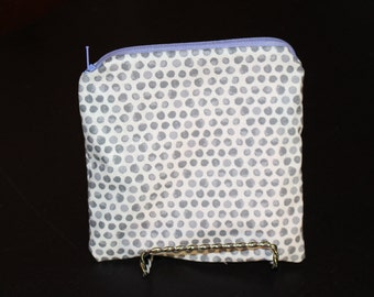 Small Grey on White Polka Dot Pouch with Purple Zipper and Pink Lining - Lined Zipper Pouch, Makeup Bag, Coin Purse, Adorable, Clutch