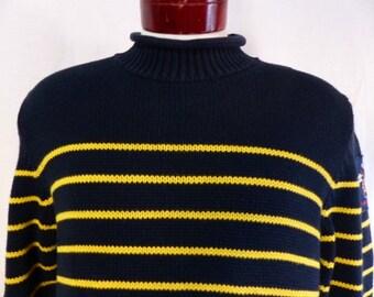vintage 90s Tommy Hilfiger black cotton knit yellow horizontal stripe sailor mariner sweater applique patch logo rollneck pullover jumper XL