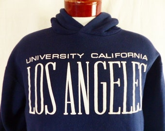 Go UCLA Bruins vintage 80's 90's University of California Los Angeles navy blue fleece hoodie sweatshirt white puffy print logo jumper large