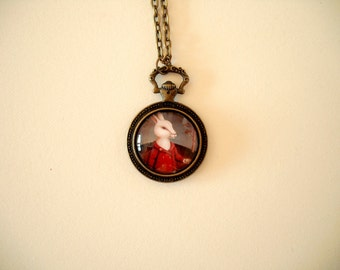 "Wearable Art by Gretchen Ellen Powers: Alice in Wonderland The White Rabbit necklace pendant 24"" chain - jewelry, illustration, pocket watch"