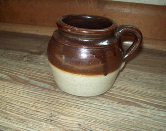 Bean Pot Handle Baked Crock Boston Vintage Decor Colonial Preserve Two Tone Pottery Food Kitchen