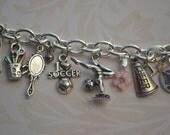 Custom Charm Bracelet, Child's Charm Bracelet, Teenager, Girls Cinderella Jewelry, Kids Jewelry, Girls Bracelet, 11th Birthday, Amethyst