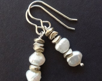 Freshwater Pearl Earrings with Silver Pebbles - StoneJoyDesign by Petra Aine Ruger