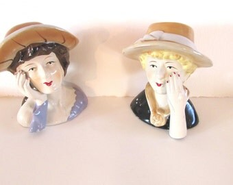 Ceramic figurines women in hat* vintage bust * Lady in hat ceramic * kitsch figurines * kistch lady