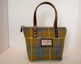 Blue and Yellow Check Harris Tweed  Tote bag/Handbag