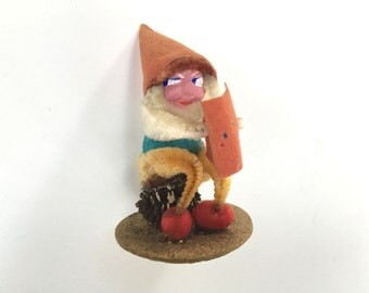 VINTAGE ELF GNOME - Pine Cone - Sitting Reading a Book - Figure - Plastic Face - Christmas Figurine - Japan - Chenille Arms Glitter