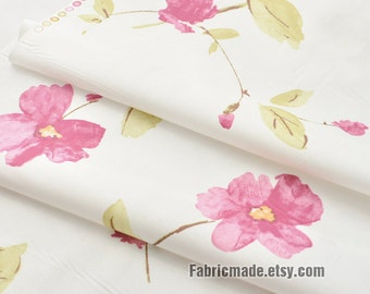 Shabby Chic Pink Flower Cotton Fabric, Pink Watercolour Floral Green Leaves on Off White Cotton, Quilt Bag Cotton Fabric- 1/2 yard