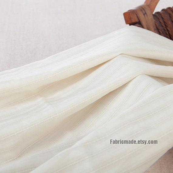 Cream Stripes Cotton Linen Fabric,  Ivory Jacquard Stripes Linen Gauze Fabric - 1/2 yard