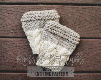 Pattern / PDF (digitally delivered and permission to sell) Reversible Boot Cuffs, Two in One Design, Easy Boot Cuff Pattern, Leg Warmers