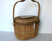 Vintage Farnum Nantucket basket purse, Woman's accessory, Ships and Whale scrimshaw, 1989 penny, Widow's Walk, gift idea