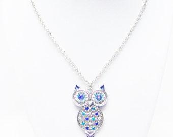 Silver Plated Owl w/Green & Blue Rhinestone Necklace
