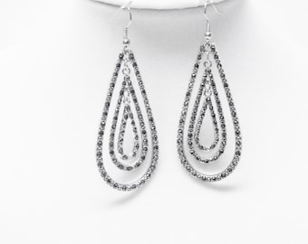Silver Plated Tear Drop w/Crystal Earrings