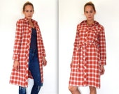 vintage 70s red plaid dress 1970s fall dress jacket dress retro dress long sleeve dress belted dress 70s waitress dress button up dress M