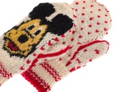 SALE 50 OFF Mickey  Minnie Mouse Mittens  Gloves    Hand Knit from Pure Merino Wool Kids mittens Girls Mittens Boys Mittens Winter Mits