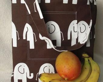 Simple handmade shopping bag - large tote bag - White Elephants on Chocolate