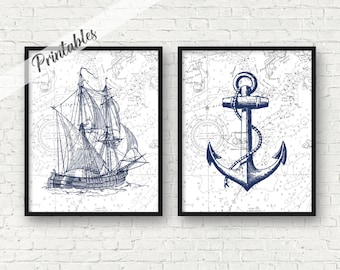 PRINTABLE, Vintage ship art, nautical art, anchor art print, nautical bathroom decor, Digital nursery ship anchor art prints, A-2010