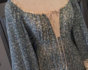 "70s Blue Floral Gypsy Gunne Sax Dress 30""waist"