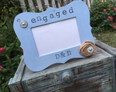 PERSONALIZED - photo frame - engagement photo - chalk paint - picture frame - wedding - engaged - burlap - rustic - engagement gift -present