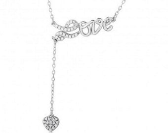 Sterling Silver Rhodium Plated CZ Love With Hanging Heart Necklace #21