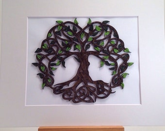 Celtic Tree Of Life quilled art | Framed art 11x14