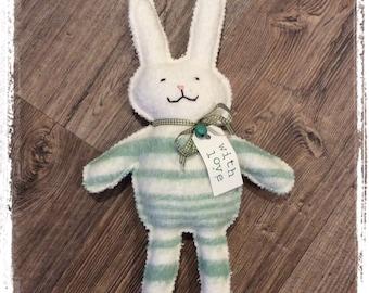 Green Stripe Blankety Bunnies - Wool Rabbit made from vintage blanket