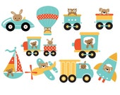 Set of 10 Iron OnHeat Transfer Sheets.. Baby Boy Travel Transportation, Trains, Planes, Cars, Trucks