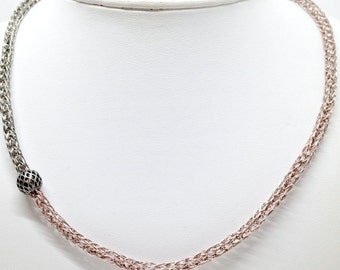 Ladies rose gold and pewter necklace viking knit