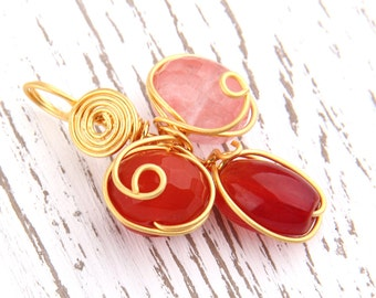 Wire Wrapped Gemstone Pendant, Gold Plated, Handmade, 1 piece// GP-433