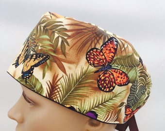 Surgical Scrub Cap - Butterflies and Palm Leaves Scrub Hat - animal scrub cap - outdoors scrub hat