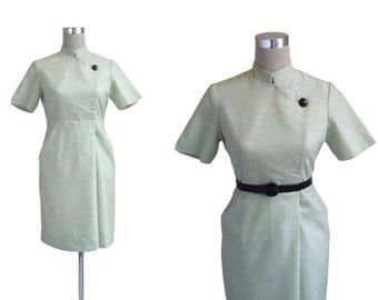 Amazing 1960's Dress - Fitted 60's Vintage Dress - Mint Green Dress - Nehru Collar Dress