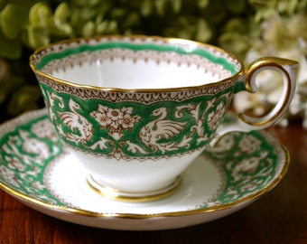 Crown Staffordshire Fine Bone China Tea Cup and Saucer, Vibrant Green White, Gold Gilt, England.