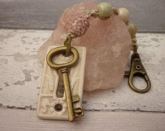 Boho Bag / Purse Charm. Ceramic bag charm, key purse charm, pastel bag charm, bag accessory, UK bag charm