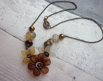 Floral bib necklace, earth toned, floral necklace, sepia flower necklace, romantic steampunk necklace, UK jewellery,  ready to ship