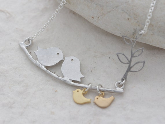 lovebirds Necklace, Mothers Necklace, choose birds design. bird Necklace, Mother's Gift, Parents of Two.