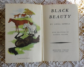 Vintage Children's Book - Black Beauty, Anna Sewell, Drawings by Maurice Wilson, Heirloom Library, Printed in Great Britain 1950s