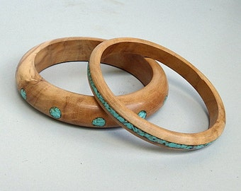 Midsummer Sale - 35% off! Olivewood Bracelet with Turquoise 2